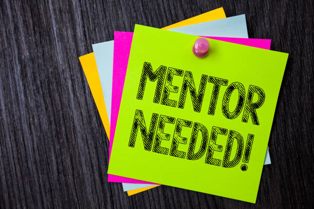 Word writing text Mentor Needed Motivational Call. Business concept for Guidance advice support training required Multiple sticky cards pinned coclourfull dark lining background board. stock photo