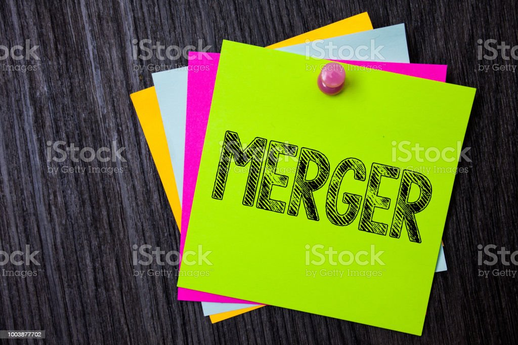 Word writing text Merger. Business concept for Combination of two things or companies Fusion Coalition Unification Multiple sticky cards pinned coclourfull dark lining background board. stock photo