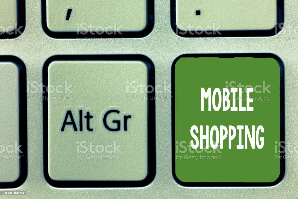 Word writing text Mobile Shopping. Business concept for Buying and selling of goods and services through mobile stock photo