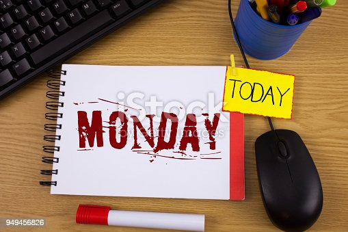 istock Word writing text Monday. Business concept for First day of the week Back to work Weekend is over Wakeup Early written on Noteoad on wooden background Today Marker Mouse Keyboard next to it. 949456826