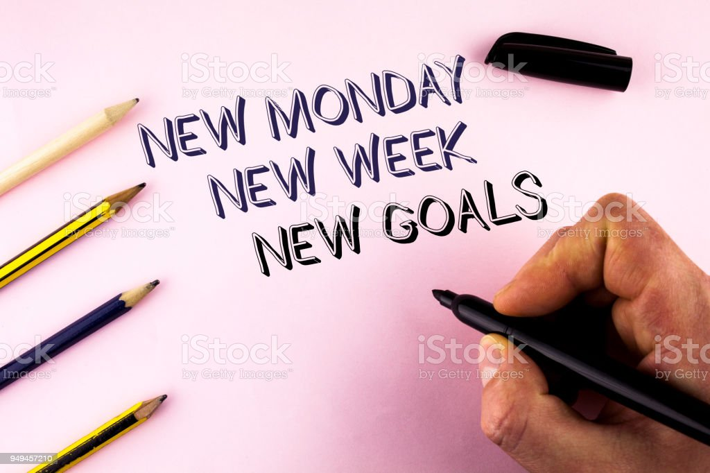 Word writing text New Monday New Week New Goals. Business concept for next week resolutions To do list Goals Targets written by Man on plain background holding Marker Pencils next to it. stock photo