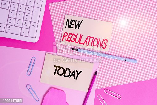 istock Word writing text New Regulations Question. Business concept for rules made government order control way something is done Writing equipments and computer stuffs placed above colored plain table. 1209147655