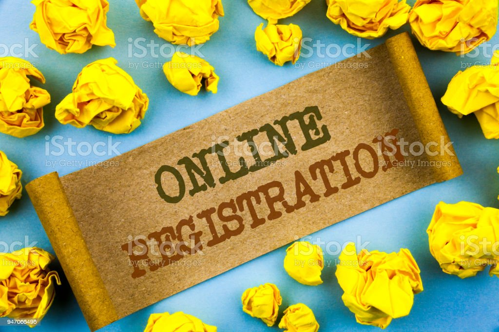 Word, writing, text  Online Registration. Business concept for Register Web Subscription Subscribe written on tear paper with folded paper on the background. stock photo