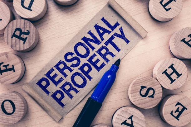 word writing text personal property. business concept for things that you own and can take it with you movable - oggetti personali foto e immagini stock