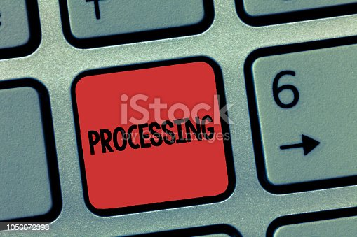 istock Word writing text Processing. Business concept for Series of mechanical or chemical operations Deal with something 1056072398
