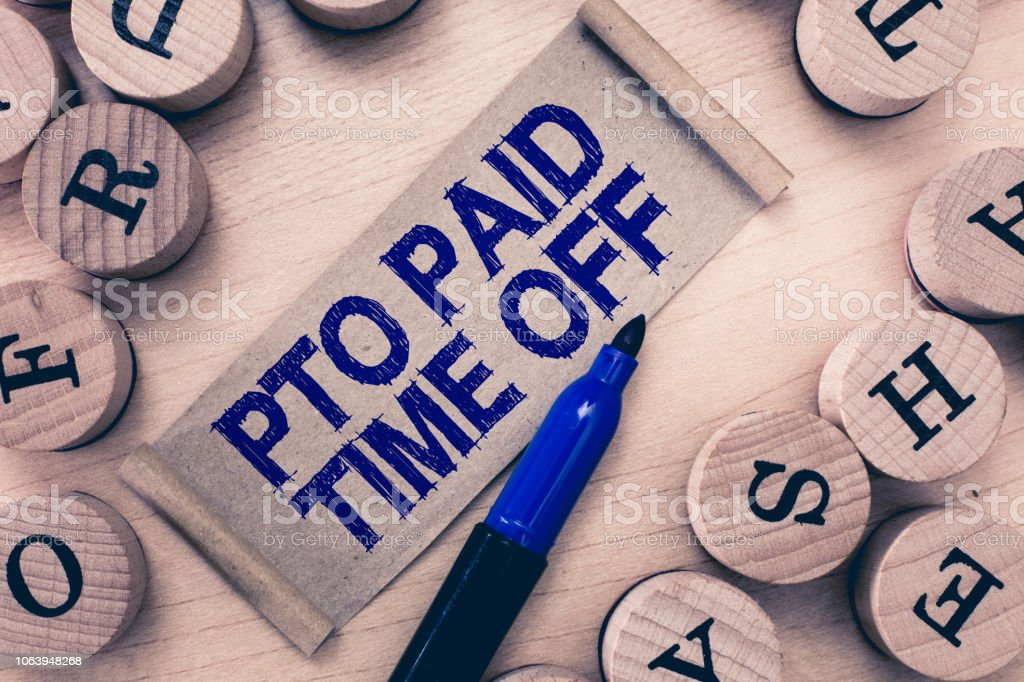 Word writing text Pto Paid Time Off. Business concept for Employer grants compensation for personal leave holidays stock photo