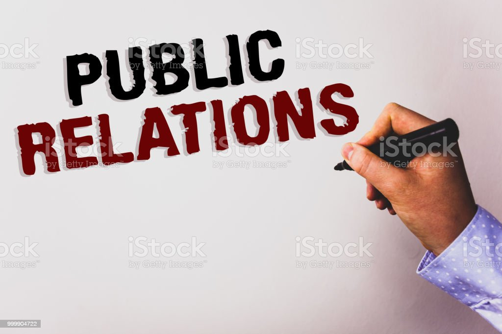 Word writing text Public Relations. Business concept for...
