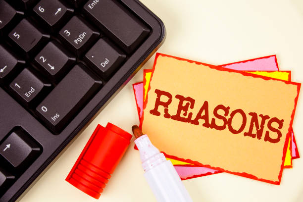 word writing text reasons. business concept for causes explanations justifications for an action or event motivation written on sticky note paper on plain background marker and keyboard next to it. - deductive stock pictures, royalty-free photos & images