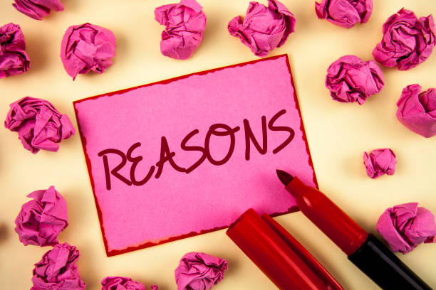 word writing text reasons. business concept for causes explanations justifications for an action or event motivation written on pink sticky note paper on plain background paper balls and marker. - deductive stock pictures, royalty-free photos & images