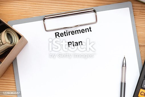 Word writing text Retirement Plan on white blank. Business concept for Savings Investments that provide incomes for retired workers.
