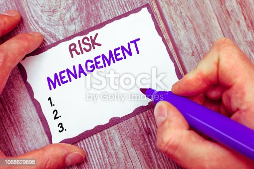 istock Word writing text Risk Management. Business concept for evaluation of financial hazards or problems with procedures 1068629898
