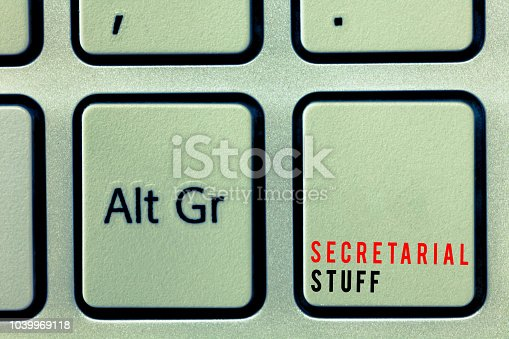 istock Word writing text Secretarial Stuff. Business concept for Secretary belongings Things owned by personal assistant 1039969118