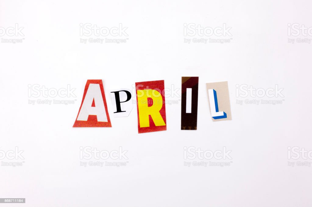 A word writing text showing concept of APRIL made of different magazine newspaper letter for Business case on the white background with copy space stock photo