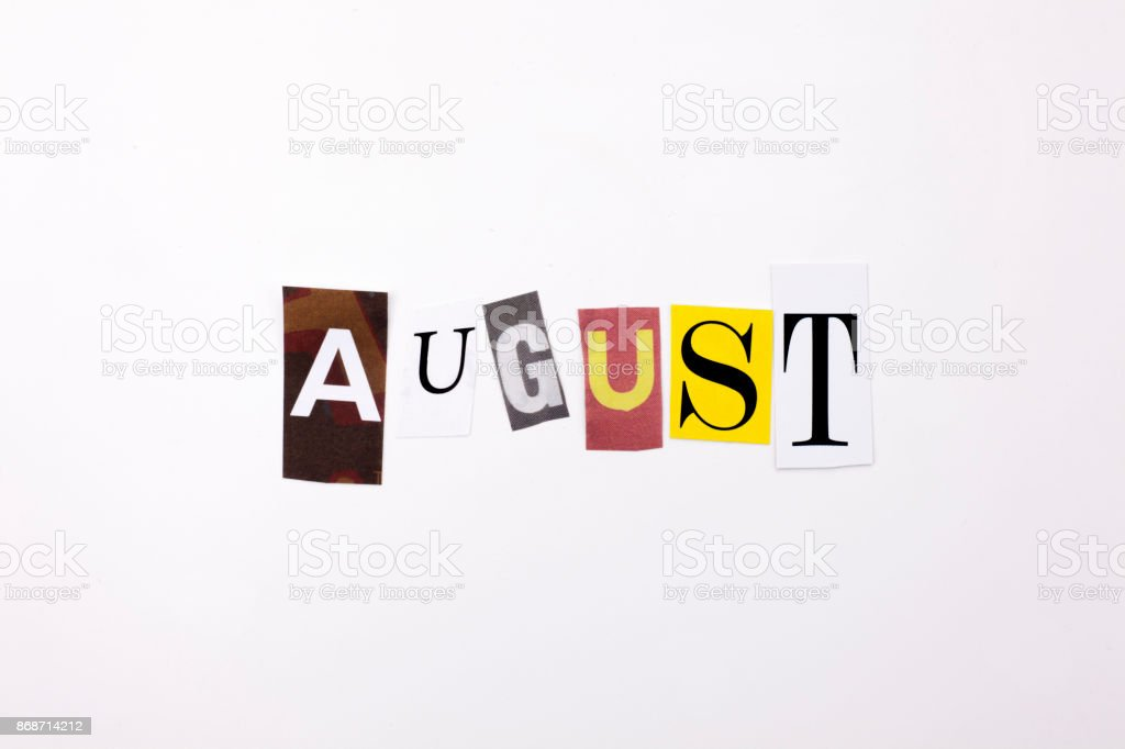 A word writing text showing concept of AUGUST made of different magazine newspaper letter for Business case on the white background with copy space stock photo