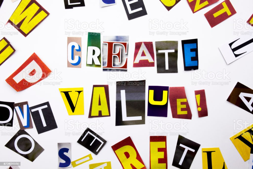 A word writing text showing concept of Create Value made of different magazine newspaper letter for Business case on the white background with copy space stock photo