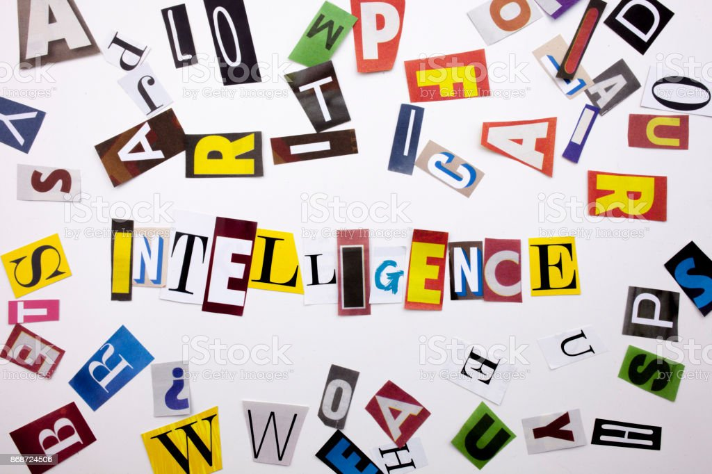 A word writing text showing concept of INTELLIGENCE made of different magazine newspaper letter for Business case on the white background with copy space stock photo