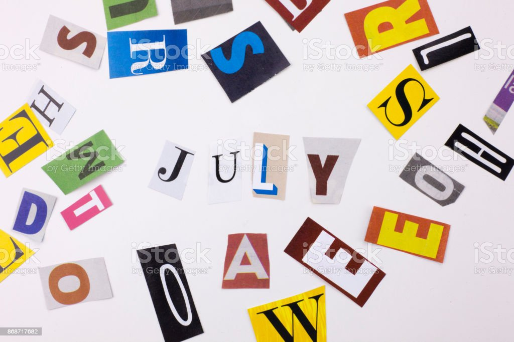 A word writing text showing concept of JULY made of different magazine newspaper letter for Business case on the white background with copy space stock photo