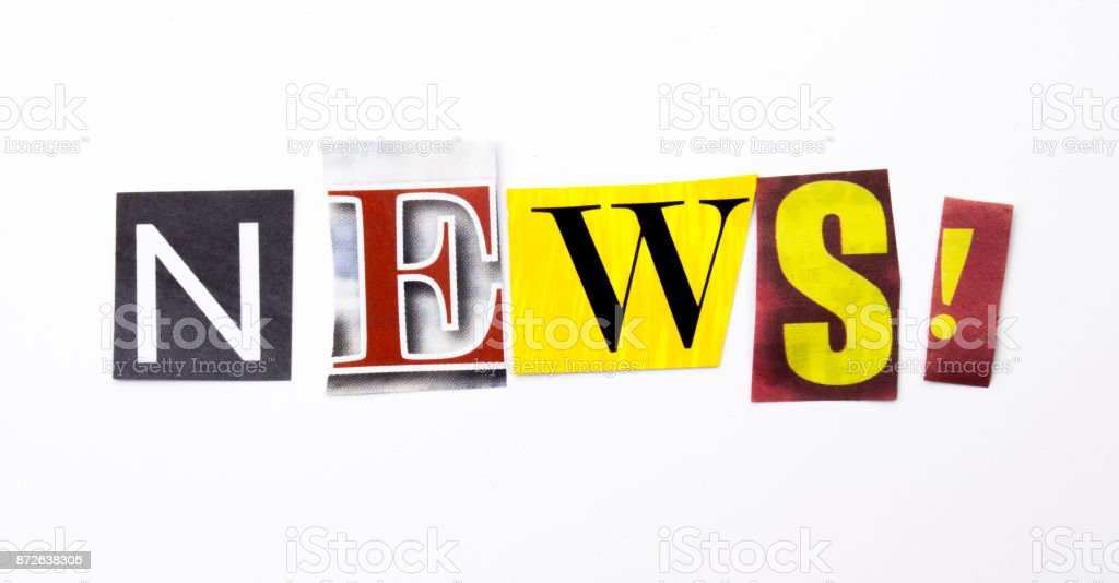A word writing text showing concept of News made of different magazine newspaper letter for Business case on the white background with copy space stock photo