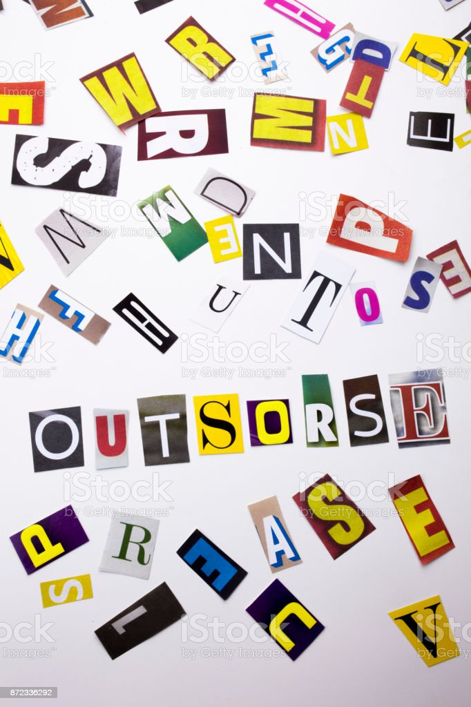 A word writing text showing concept of Outsorse made of different magazine newspaper letter for Business case on the white background with copy space stock photo