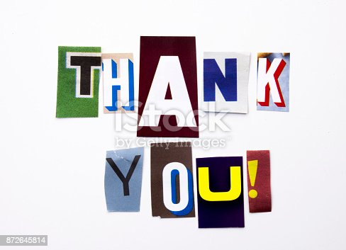 istock A word writing text showing concept of Thank You, Thanking made of different magazine newspaper letter for Business case on the white background with copy space 872645814