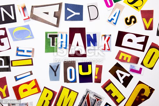 istock A word writing text showing concept of Thank You, Thanking made of different magazine newspaper letter for Business case on the white background with copy space 872645862