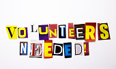 istock A word writing text showing concept of Volunteers Needed made of different magazine newspaper letter for Business case on the white background with copy space 872643216