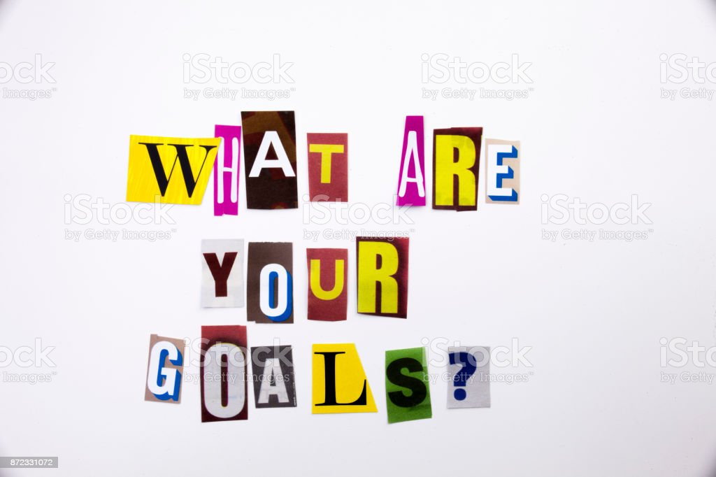A word writing text showing concept of What Are Your Goals question made of different magazine newspaper letter for Business case on the white background with copy space stock photo