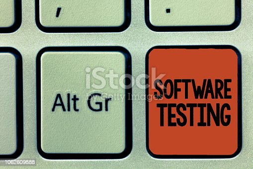 1088363766 istock photo Word writing text Software Testing. Business concept for investigation provide information about the quality of it 1062609888