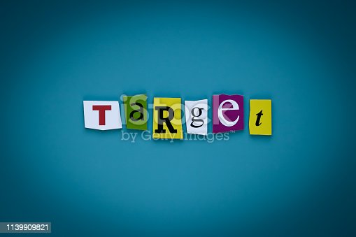 istock Word writing text target on blue background. Digital marketing. Communication network. Headline of cut letters - target. Banner with inscription - target. 1139909821
