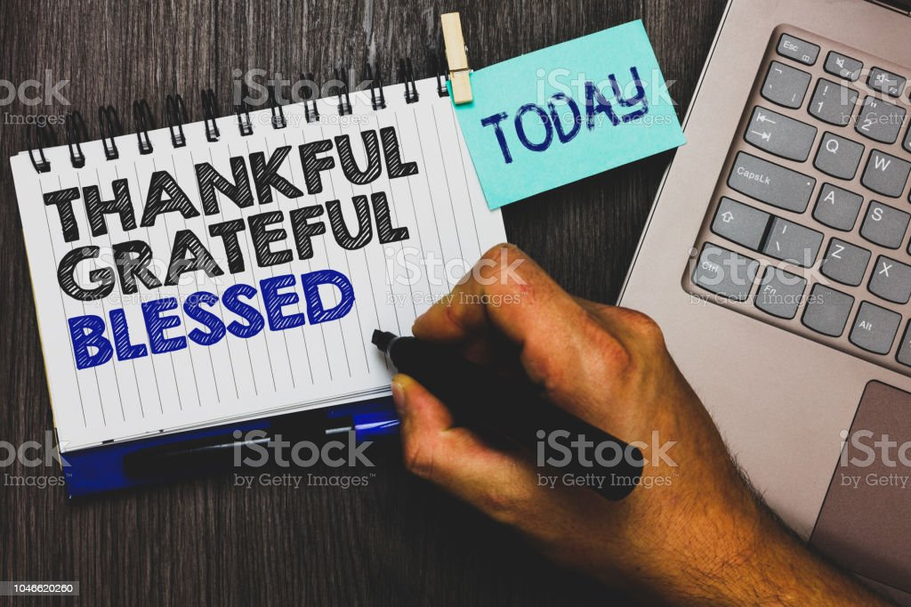 Word Schreiben Text Dankbar Dankbar Gesegnet Geschaftskonzept Fur