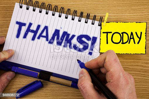 1068057218 istock photo Word writing text Thanks Motivational Call. Business concept for Appreciation greeting Acknowledgment Gratitude written by Marker in Hand on Notebook on wooden background Today Pen next to it. 946938272