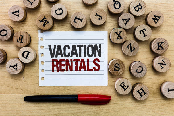 Word writing text Vacation Rentals. Business concept for Renting out of apartment house condominium for a short stay stock photo