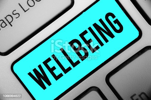 istock Word writing text Wellbeing. Business concept for A good or satisfactory condition of existence including health Keyboard blue key Intention create computer computing reflection document. 1066994522