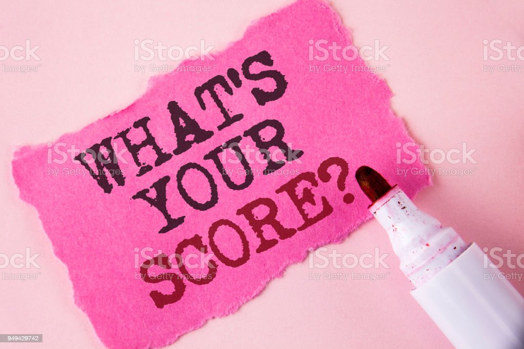 Word writing text What Is Your Score Question. Business concept for Tell Personal Individual Rating Average Results written on Tear Pink Sticky note paper on Pink background Marker next to it. stock photo