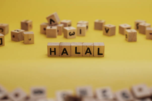 HALAL Word Written In Wooden Cube With Yellow Background stock photo