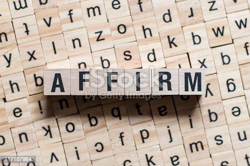 AFFIRM word written on building blocks concept.