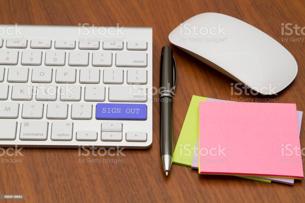 SIGN OUT word written on computer keyboard. stock photo