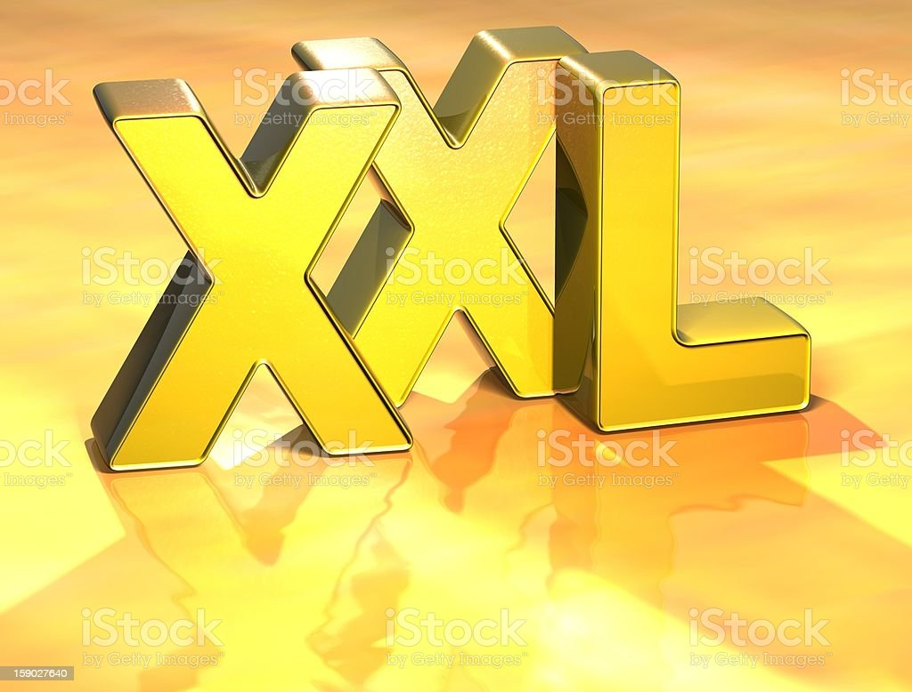 3D word XXL on yellow background royalty-free stock photo