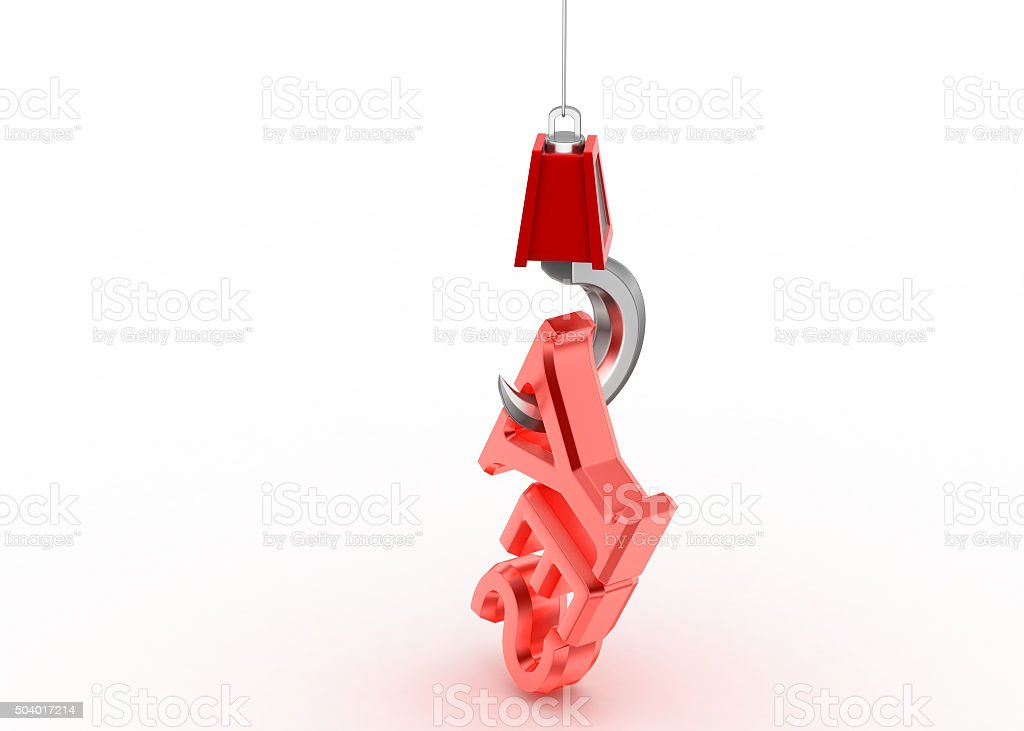 Word yes hanging in the hook stock photo