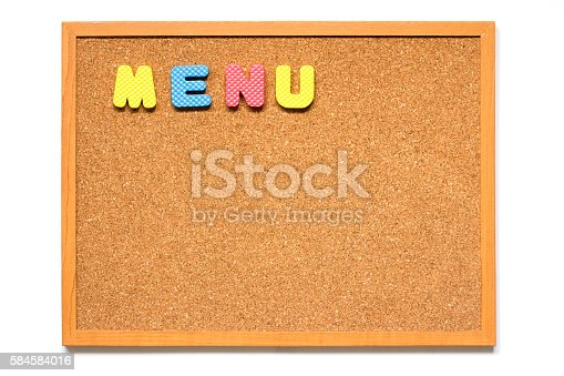 istock Wording menu in cork board placed on white background 584584016