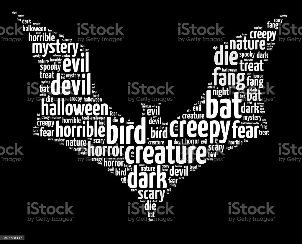 Wordle Of Halloween Themed Bat Stock Photo  More Pictures Of