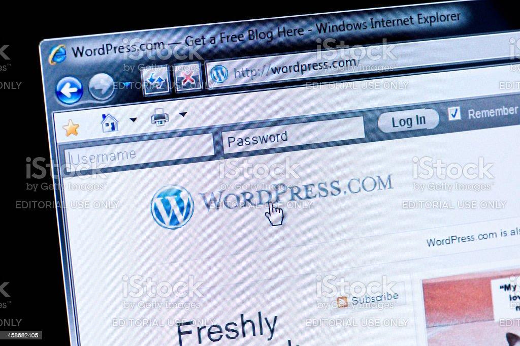 WordPress - Macro shot of real monitor screen royalty-free stock photo