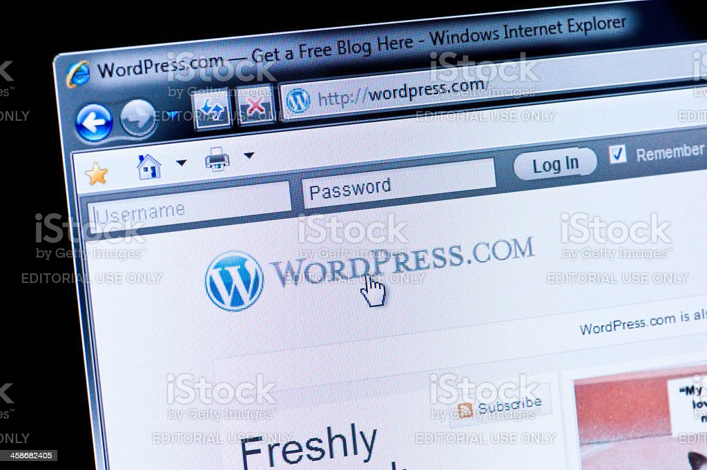 WordPress - Macro shot of real monitor screen stock photo