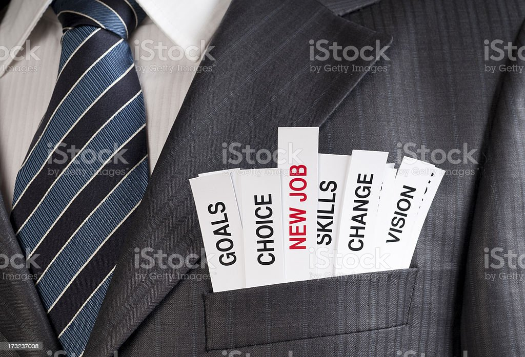 Words associated with a new job in a suit pocket stock photo