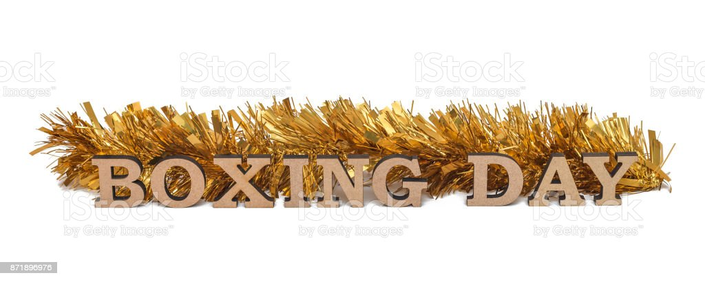 Words BOXING DAY, isolated on white stock photo