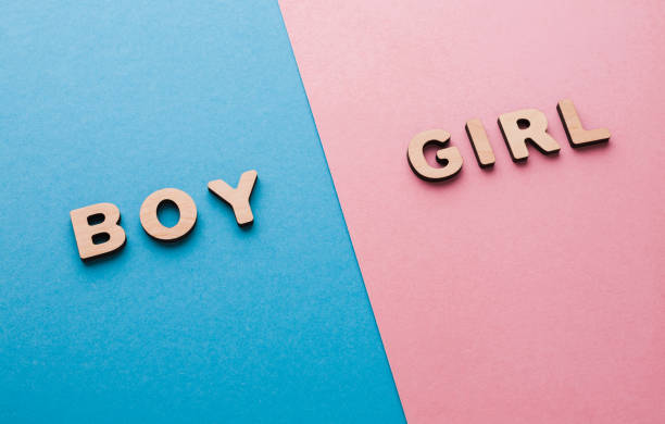 words boy and girl on bright backgrounds - gender stereotypes stock pictures, royalty-free photos & images