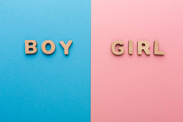 Words Boy and Girl on bright backgrounds stock photo