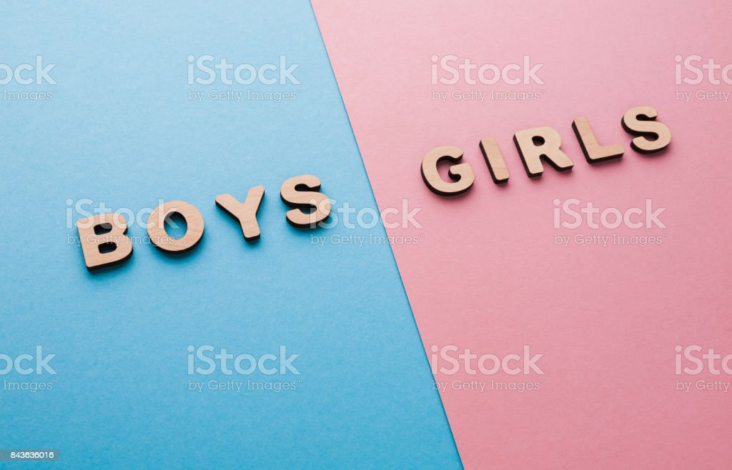 Words Boys and Girls on bright backgrounds stock photo