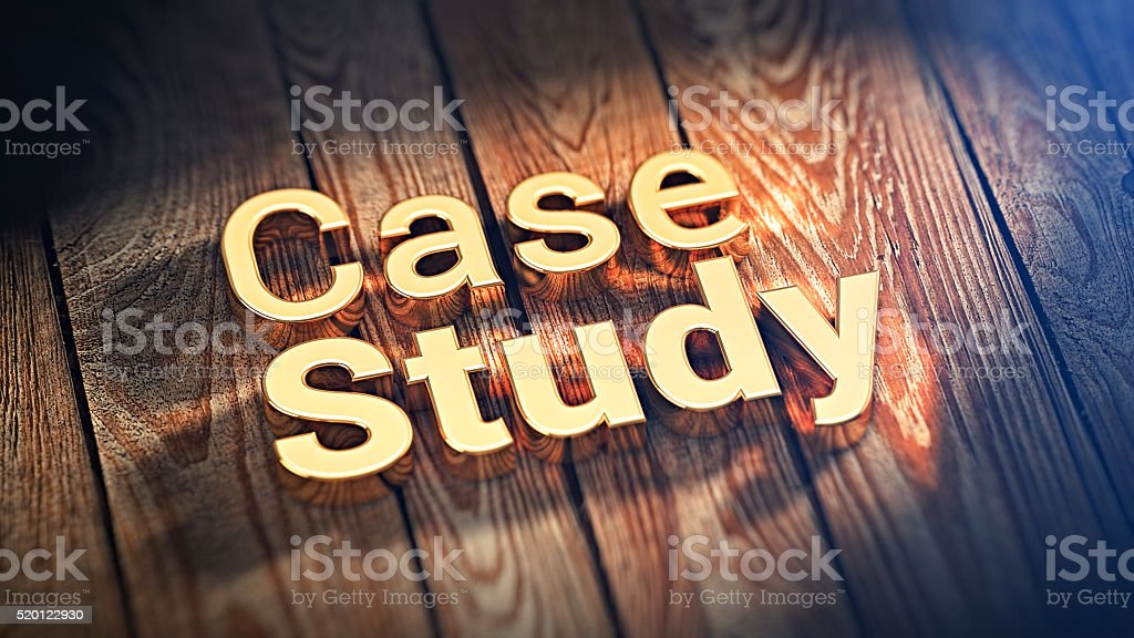 Words Case Study on wood planks stock photo
