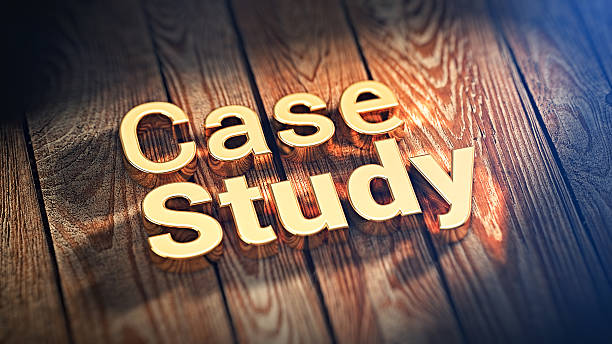 Words Case Study on wood planks stock photo